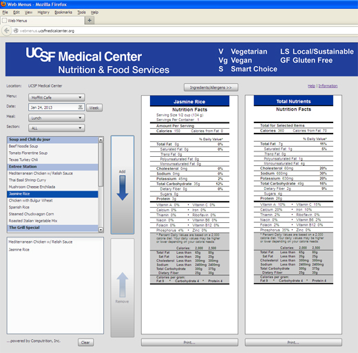 UCSF WebMenu Screenshot